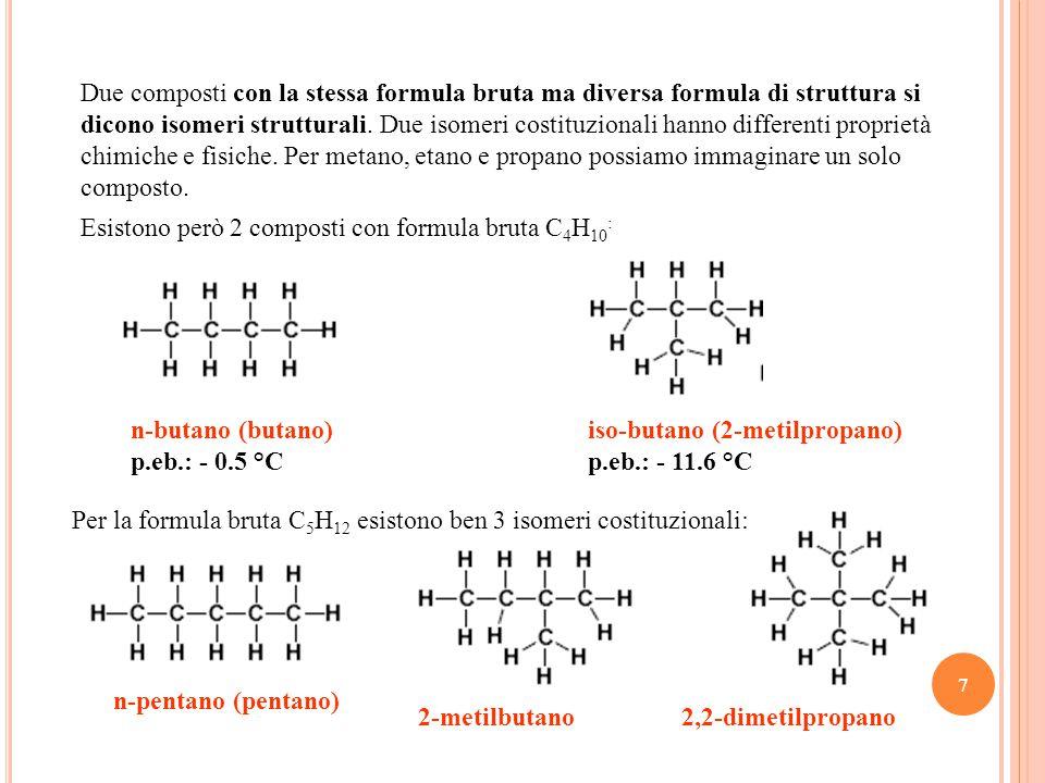 8 Il numero di isomeri aumenta vertiginosamente al crescere del numero di atomi di carbonio: abbiamo 5 isomeri con 6 C, 75 isomeri con 10 C.