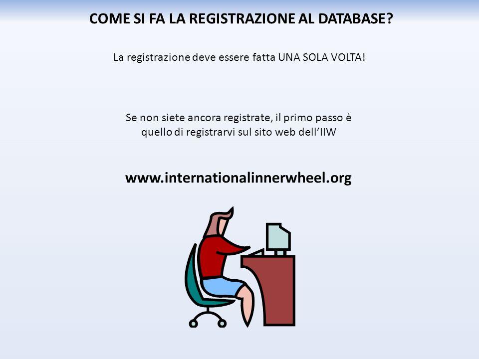 Se non siete ancora registrate, il primo passo è quello di registrarvi sul sito web dell'IIW www.internationalinnerwheel.org COME SI FA LA REGISTRAZIONE AL DATABASE.