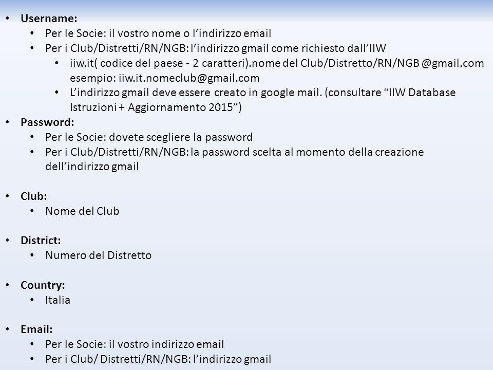 Username: Per le Socie: il vostro nome o l'indirizzo email Per i Club/Distretti/RN/NGB: l'indirizzo gmail come richiesto dall'IIW iiw.it( codice del paese - 2 caratteri).nome del Club/Distretto/RN/NGB @gmail.com esempio: iiw.it.nomeclub@gmail.com L'indirizzo gmail deve essere creato in google mail.