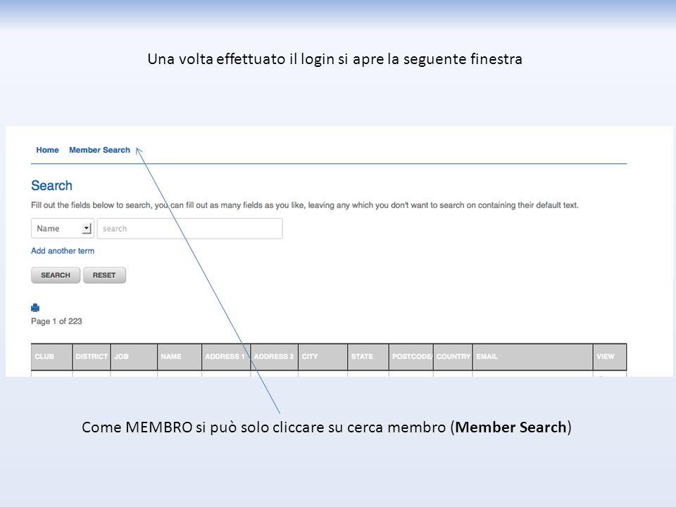 Una volta effettuato il login si apre la seguente finestra Come MEMBRO si può solo cliccare su cerca membro (Member Search)
