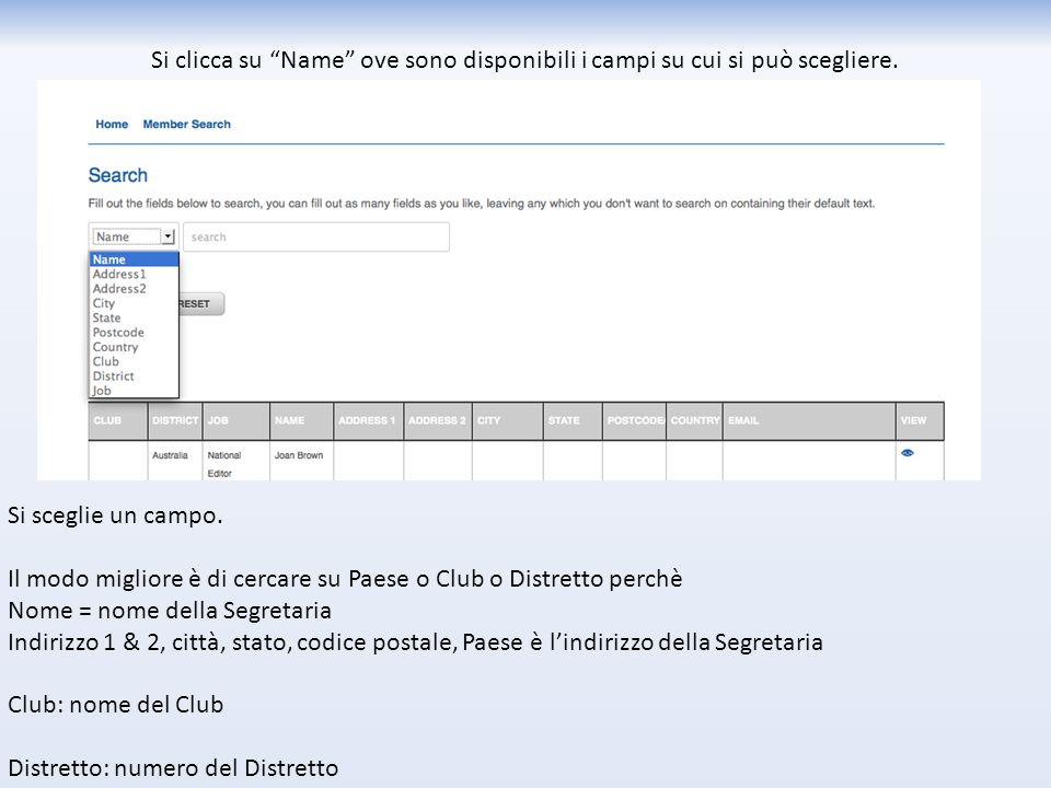 Per l'amministrazione di CLUB Potete cercare nel database un membro cliccando su Member Search Potete aggiornare i dati del Club cliccando su Manage Clubs Potete vedere solo il file del vostro Club.