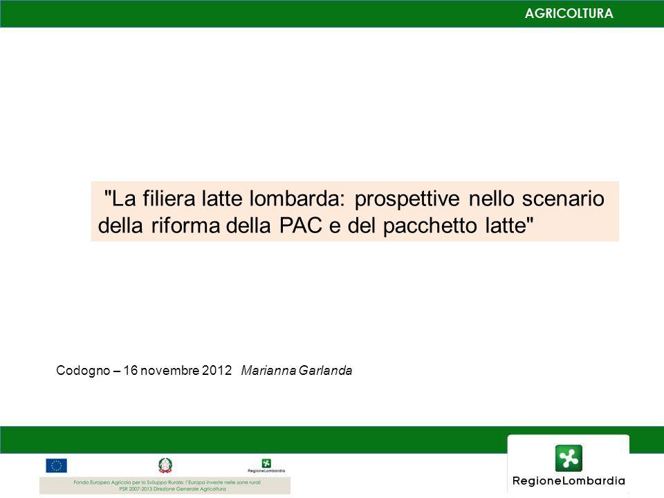 La filiera latte lombarda: prospettive nello scenario della riforma della PAC e del pacchetto latte Codogno – 16 novembre 2012 Marianna Garlanda