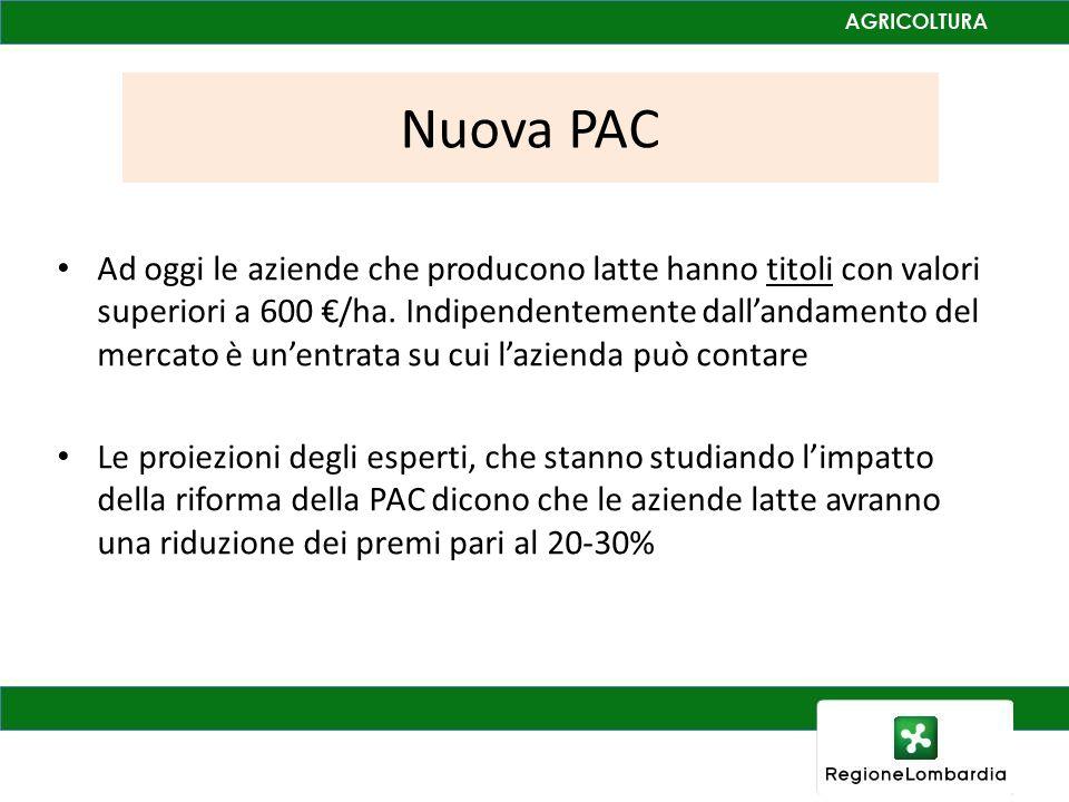 Nuova PAC Ad oggi le aziende che producono latte hanno titoli con valori superiori a 600 €/ha.
