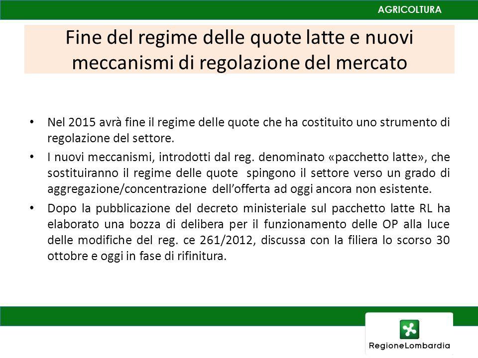 Fine del regime delle quote latte e nuovi meccanismi di regolazione del mercato Nel 2015 avrà fine il regime delle quote che ha costituito uno strumento di regolazione del settore.