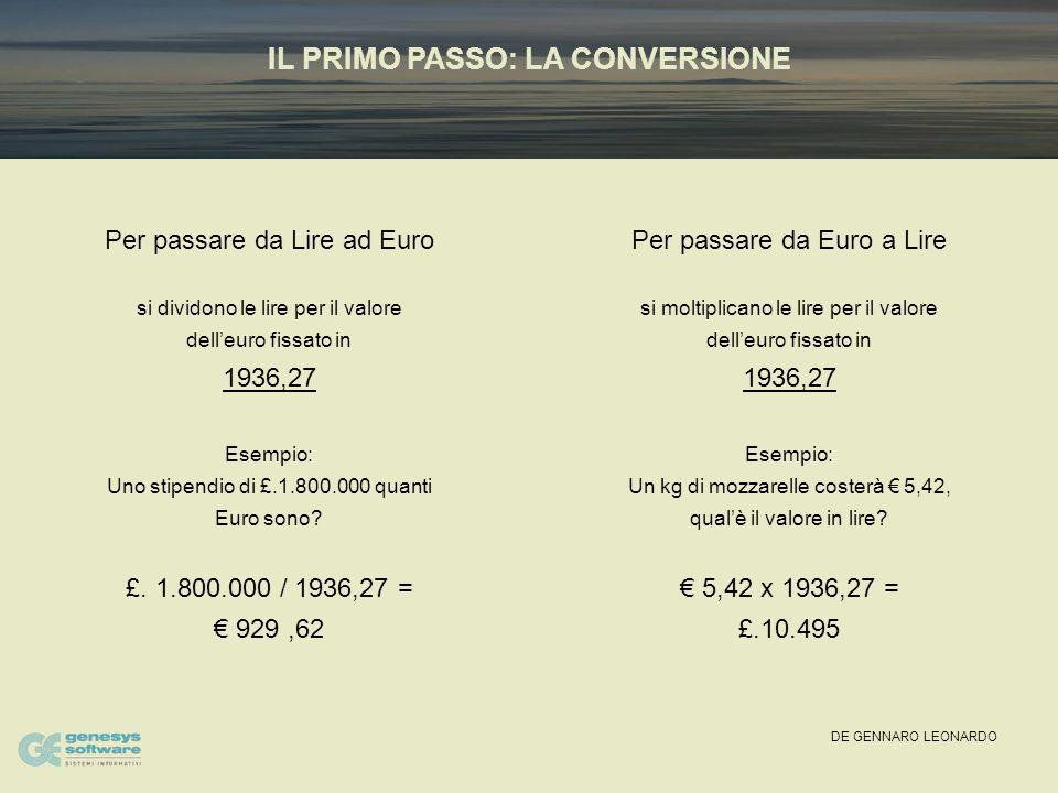 DE GENNARO LEONARDO IL PRIMO PASSO: LA CONVERSIONE Per passare da Lire ad Euro si dividono le lire per il valore dell'euro fissato in 1936,27 Esempio: Uno stipendio di £.1.800.000 quanti Euro sono.