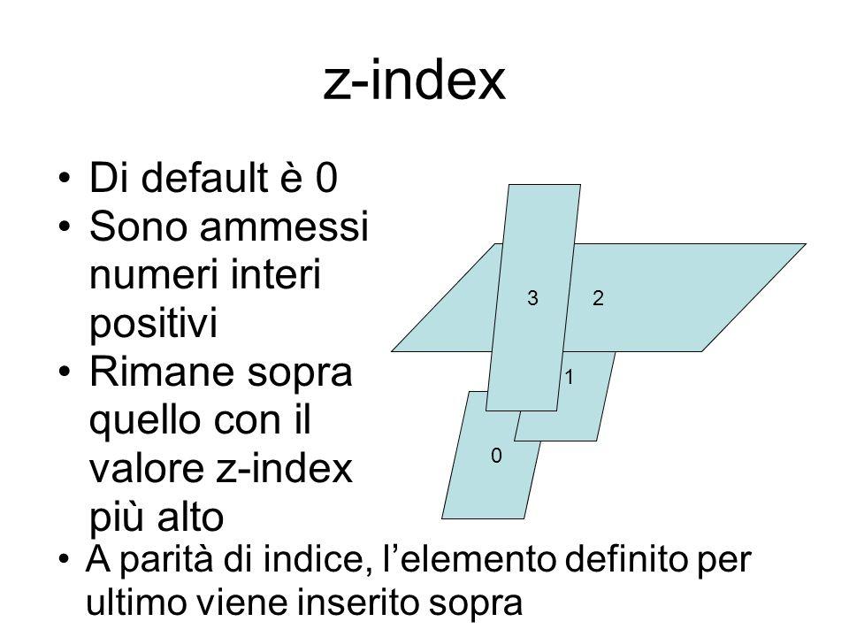 z-index Di default è 0 Sono ammessi numeri interi positivi Rimane sopra quello con il valore z-index più alto 0 1 2 3 A parità di indice, l'elemento definito per ultimo viene inserito sopra