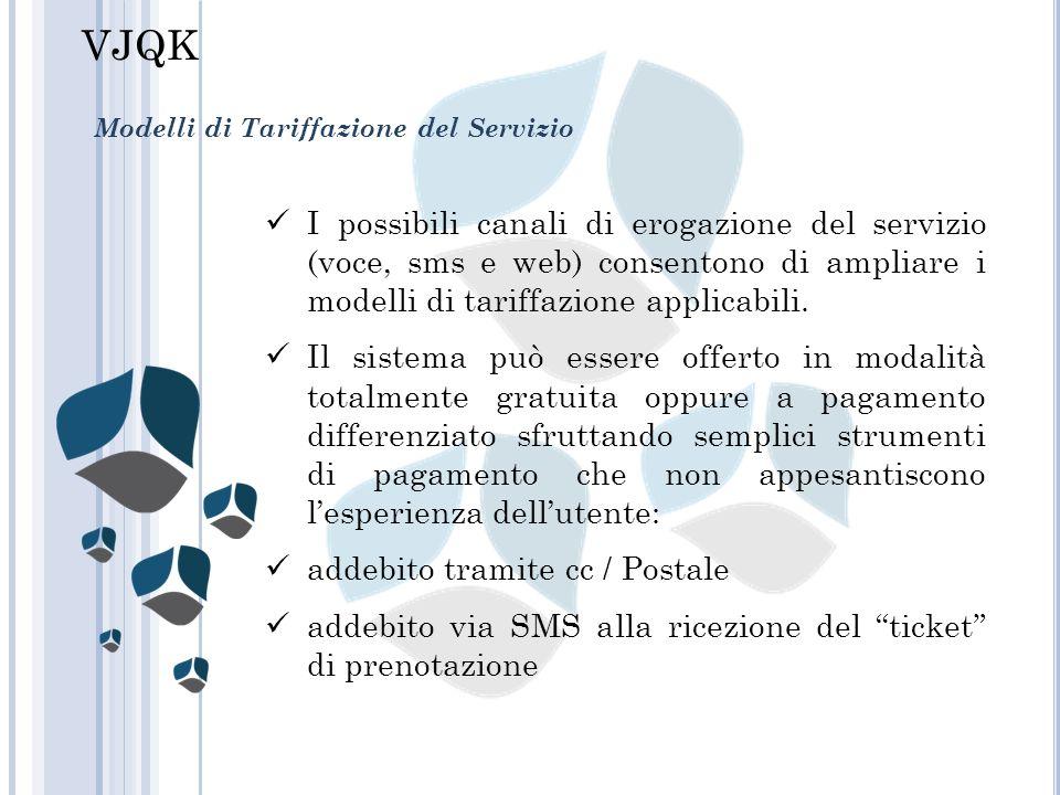 Modelli di Tariffazione del Servizio I possibili canali di erogazione del servizio (voce, sms e web) consentono di ampliare i modelli di tariffazione