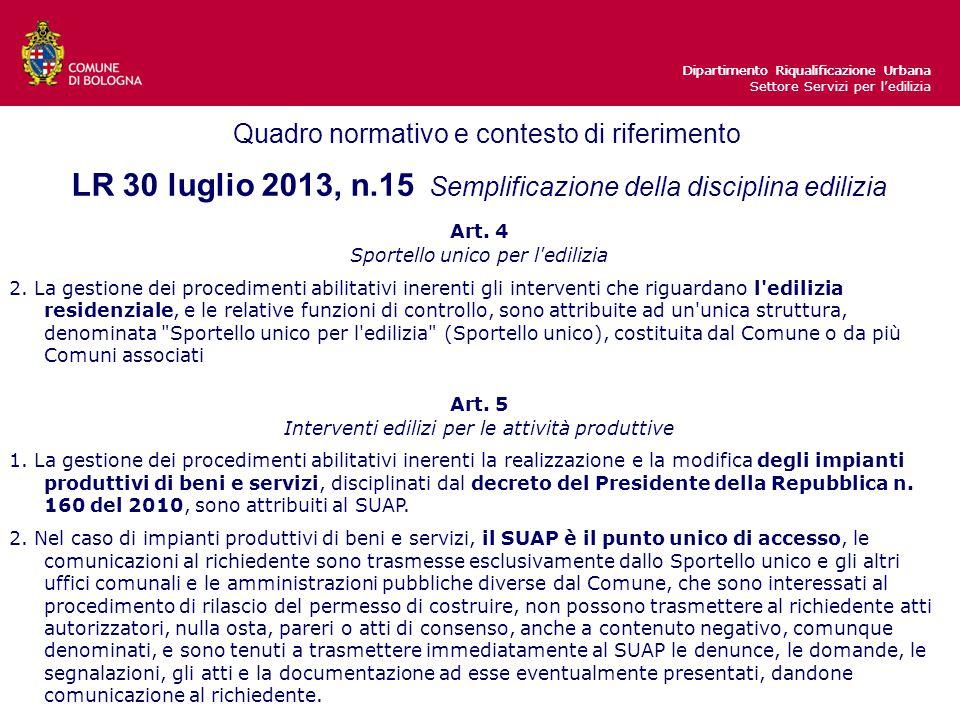 Dipartimento Riqualificazione Urbana LR 30 luglio 2013, n.15 Semplificazione della disciplina edilizia Art.