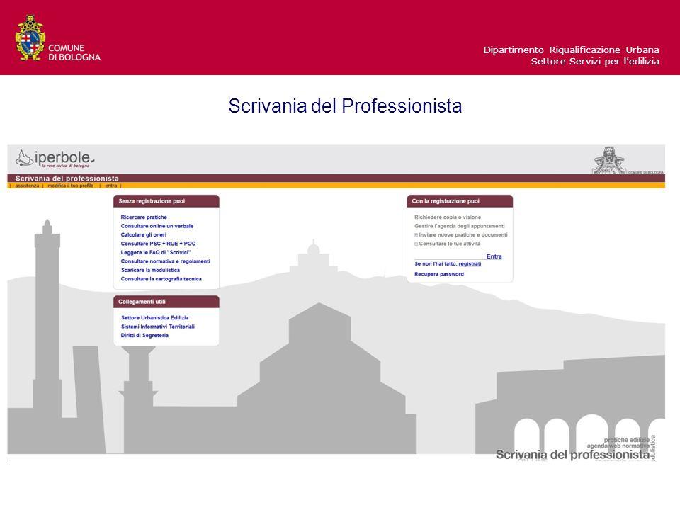 Dipartimento Riqualificazione Urbana Settore Servizi per l'edilizia Scrivania del Professionista