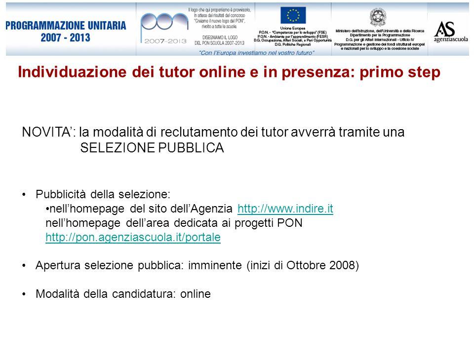 Individuazione dei tutor online e in presenza: primo step NOVITA': la modalità di reclutamento dei tutor avverrà tramite una SELEZIONE PUBBLICA Pubblicità della selezione: nell'homepage del sito dell'Agenzia http://www.indire.ithttp://www.indire.it nell'homepage dell'area dedicata ai progetti PON http://pon.agenziascuola.it/portale http://pon.agenziascuola.it/portale Apertura selezione pubblica: imminente (inizi di Ottobre 2008) Modalità della candidatura: online