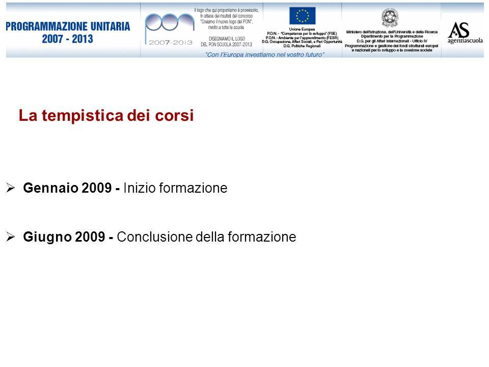 La tempistica dei corsi  Gennaio 2009 - Inizio formazione  Giugno 2009 - Conclusione della formazione
