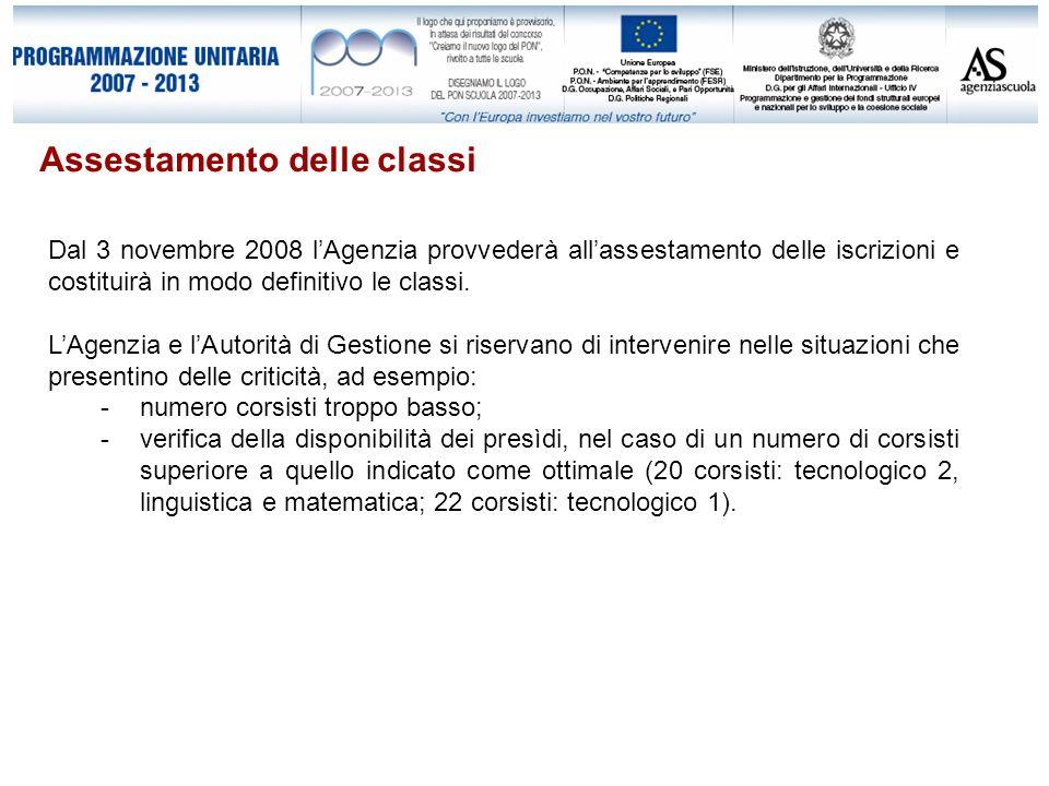 Assestamento delle classi Dal 3 novembre 2008 l'Agenzia provvederà all'assestamento delle iscrizioni e costituirà in modo definitivo le classi.