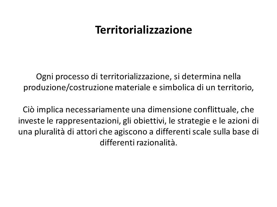 Ogni processo di territorializzazione, si determina nella produzione/costruzione materiale e simbolica di un territorio, Ciò implica necessariamente u