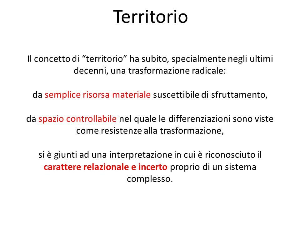 """Il concetto di """"territorio"""" ha subito, specialmente negli ultimi decenni, una trasformazione radicale: da semplice risorsa materiale suscettibile di s"""