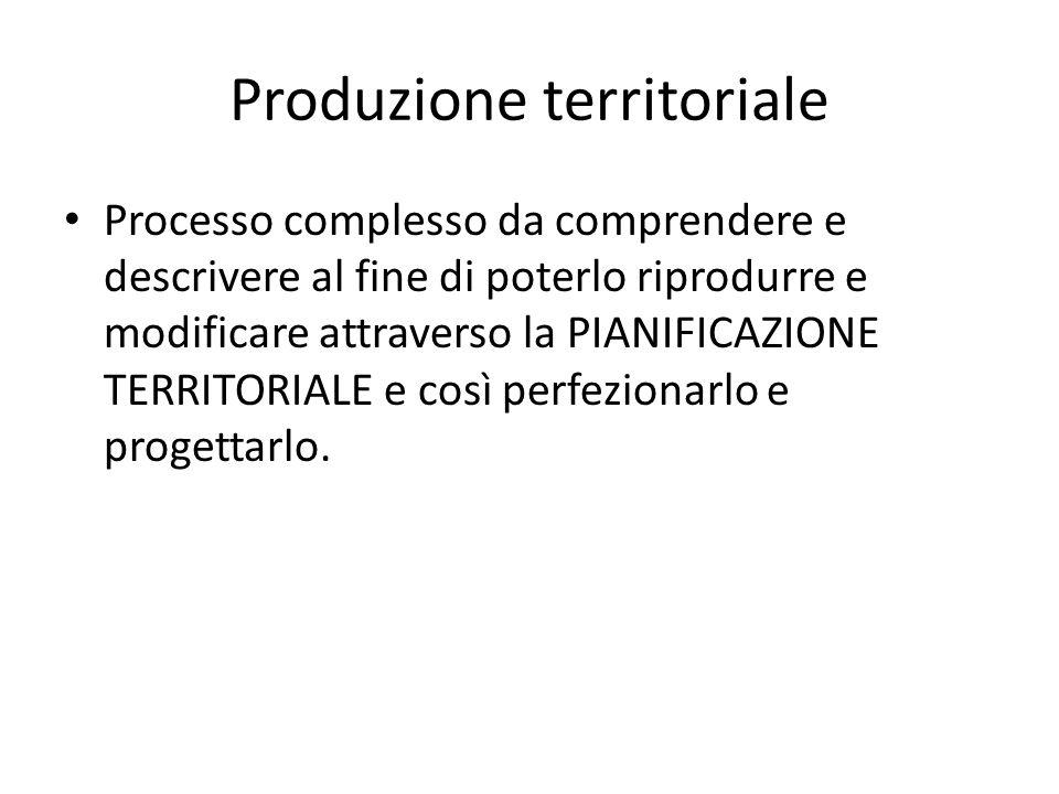 Produzione territoriale Processo complesso da comprendere e descrivere al fine di poterlo riprodurre e modificare attraverso la PIANIFICAZIONE TERRITORIALE e così perfezionarlo e progettarlo.