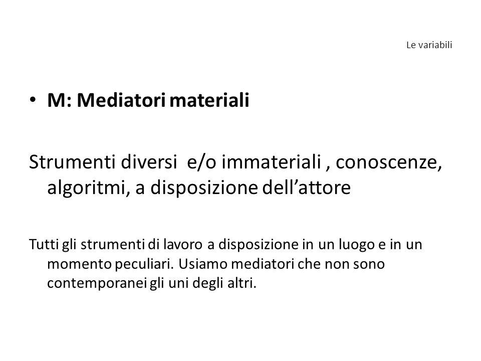 Le variabili M: Mediatori materiali Strumenti diversi e/o immateriali, conoscenze, algoritmi, a disposizione dell'attore Tutti gli strumenti di lavoro