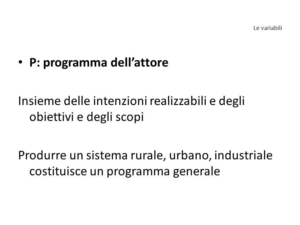 P: programma dell'attore Insieme delle intenzioni realizzabili e degli obiettivi e degli scopi Produrre un sistema rurale, urbano, industriale costituisce un programma generale Le variabili