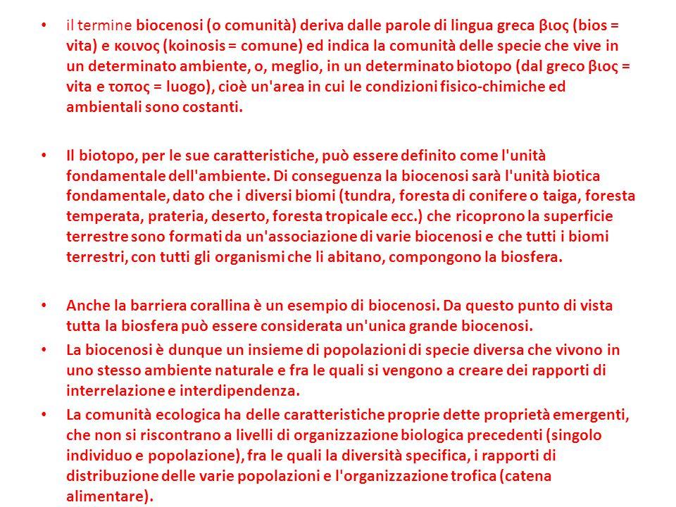 il termine biocenosi (o comunità) deriva dalle parole di lingua greca βιος (bios = vita) e κοινος (koinosis = comune) ed indica la comunità delle spec