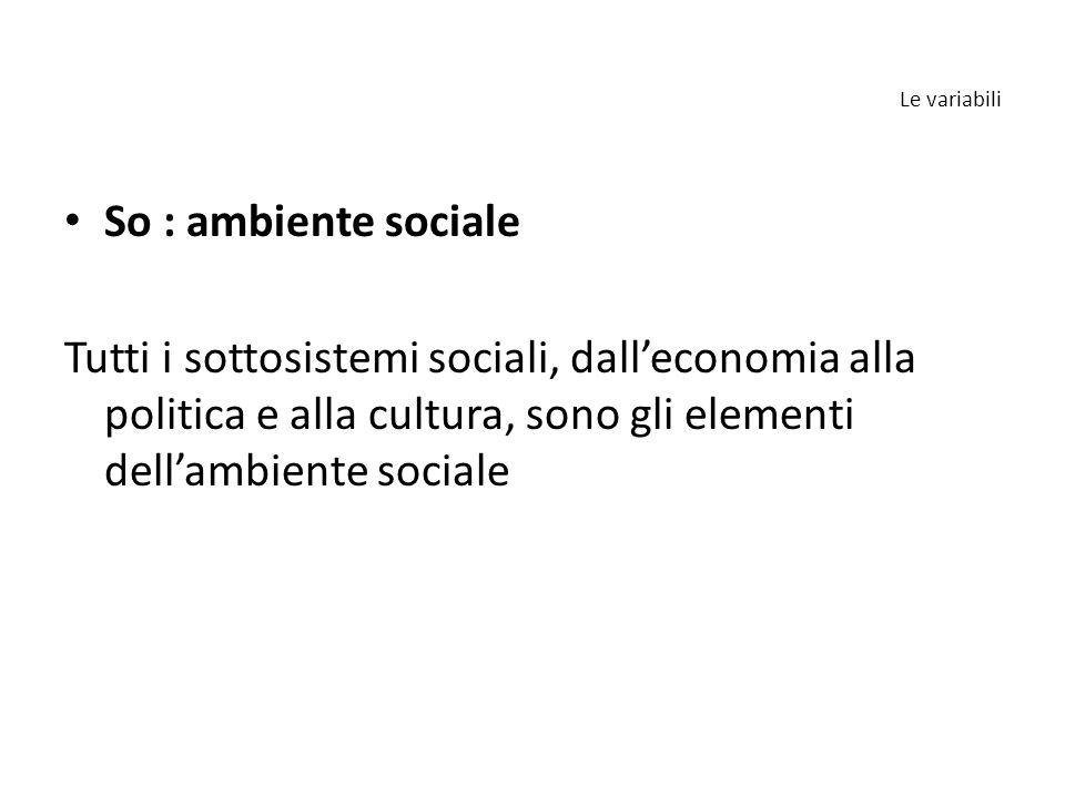 So : ambiente sociale Tutti i sottosistemi sociali, dall'economia alla politica e alla cultura, sono gli elementi dell'ambiente sociale Le variabili
