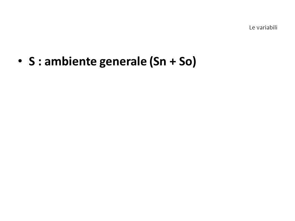 S : ambiente generale (Sn + So) Le variabili