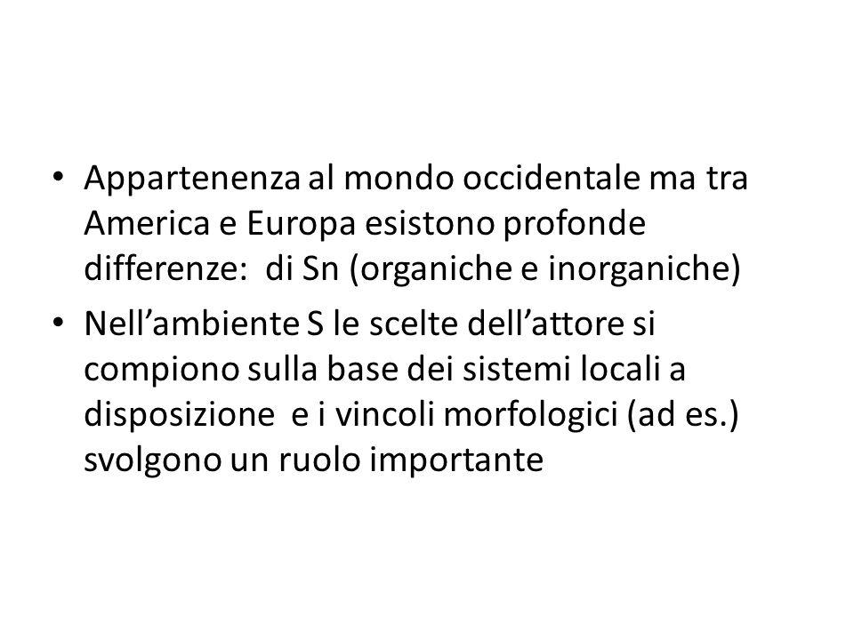 Appartenenza al mondo occidentale ma tra America e Europa esistono profonde differenze: di Sn (organiche e inorganiche) Nell'ambiente S le scelte dell