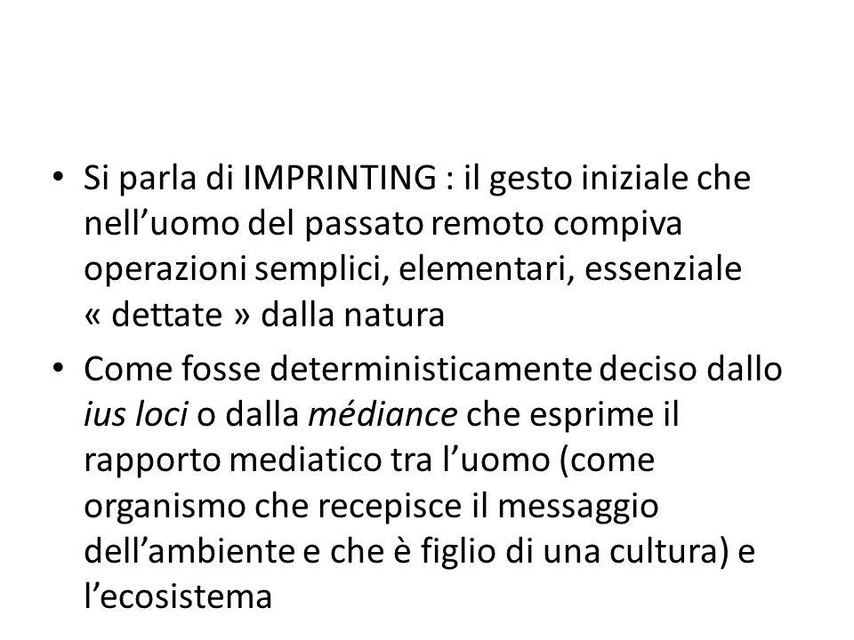 Si parla di IMPRINTING : il gesto iniziale che nell'uomo del passato remoto compiva operazioni semplici, elementari, essenziale « dettate » dalla natu