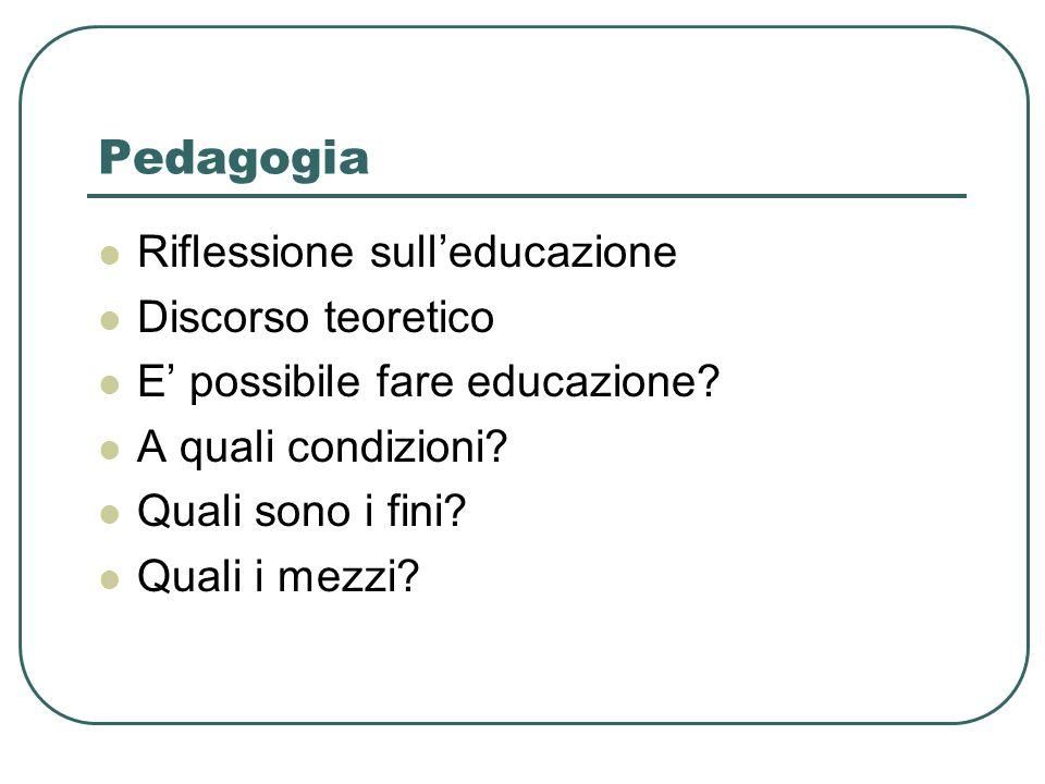 Pedagogia Riflessione sull'educazione Discorso teoretico E' possibile fare educazione.