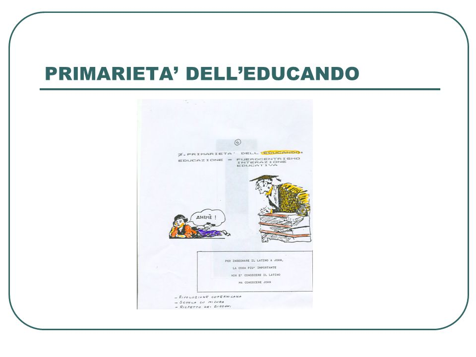 PRIMARIETA' DELL'EDUCANDO