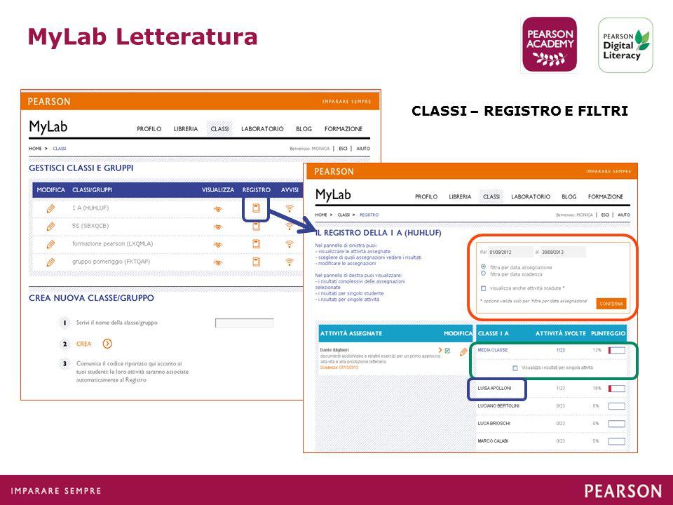 MyLab Letteratura CLASSI – REGISTRO E FILTRI