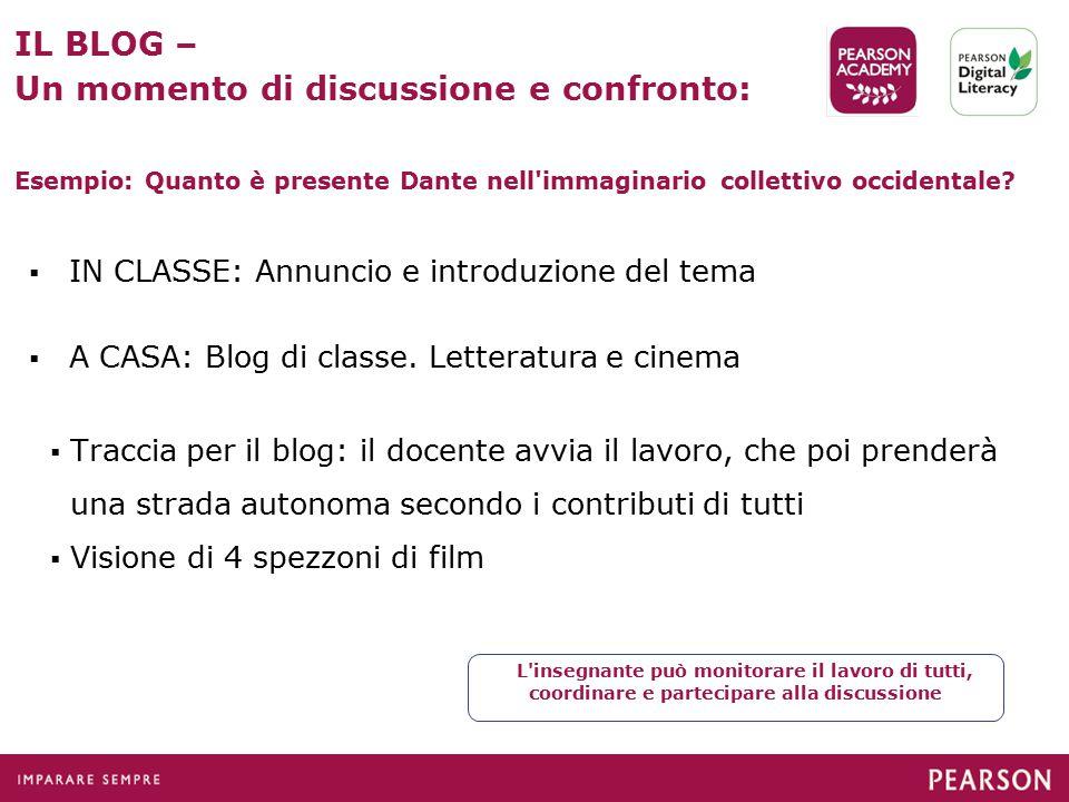  IN CLASSE: Annuncio e introduzione del tema  A CASA: Blog di classe.