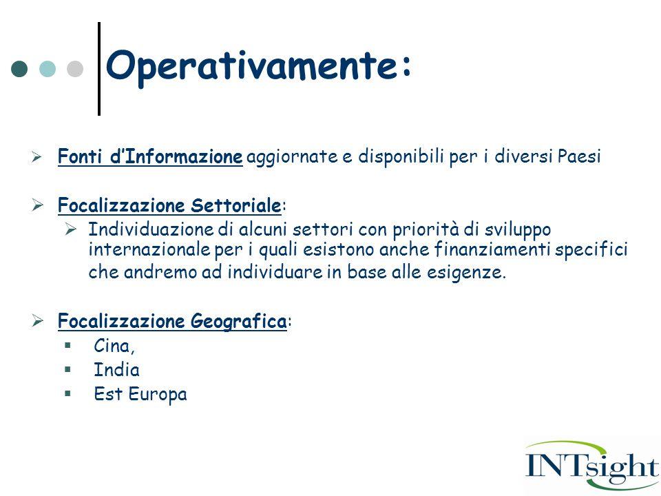 Operativamente:  Fonti d'Informazione aggiornate e disponibili per i diversi Paesi  Focalizzazione Settoriale:  Individuazione di alcuni settori co