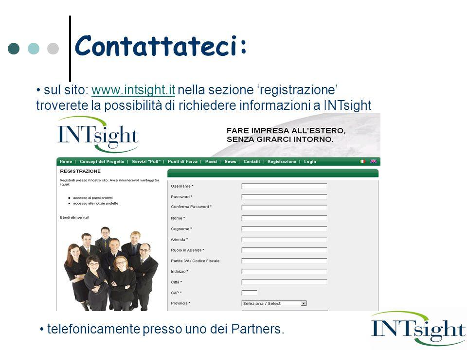 Contattateci: sul sito: www.intsight.it nella sezione 'registrazione' troverete la possibilità di richiedere informazioni a INTsightwww.intsight.it telefonicamente presso uno dei Partners.