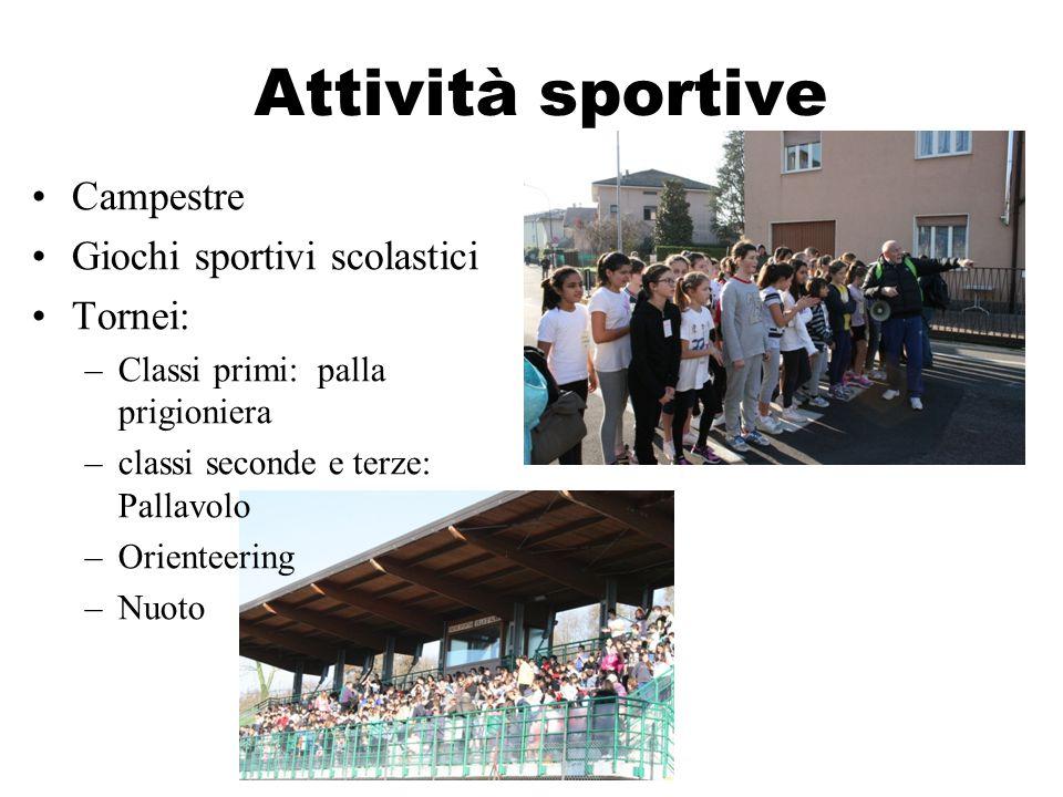 Attività sportive Campestre Giochi sportivi scolastici Tornei: –Classi primi: palla prigioniera –classi seconde e terze: Pallavolo –Orienteering –Nuot