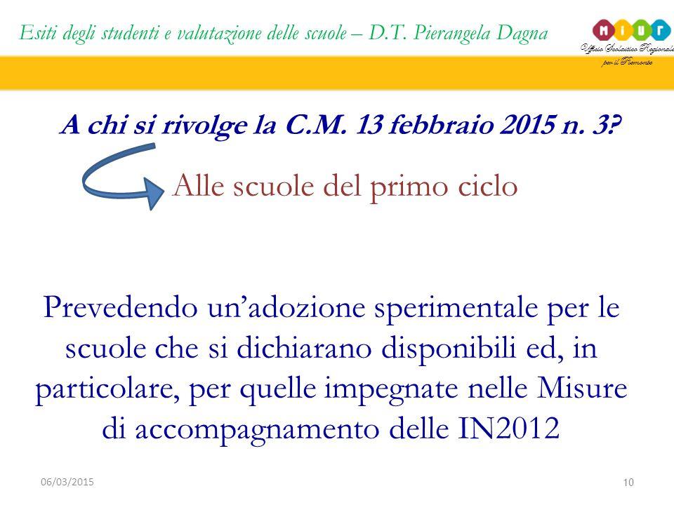 Ufficio Scolastico Regionale per il Piemonte Esiti degli studenti e valutazione delle scuole – D.T. Pierangela Dagna 10 06/03/2015 A chi si rivolge la
