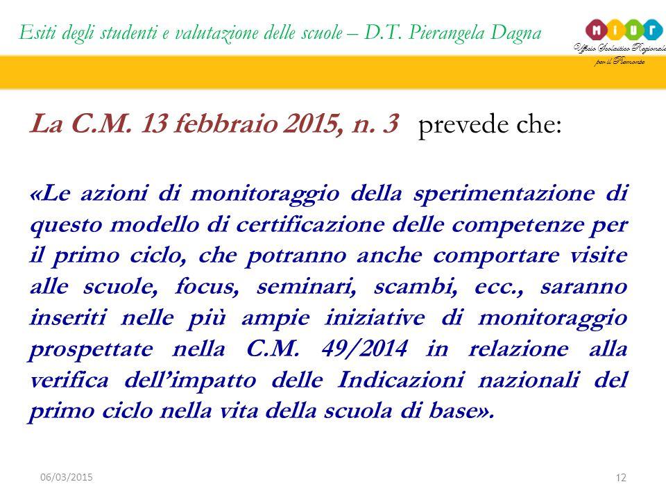 Ufficio Scolastico Regionale per il Piemonte Esiti degli studenti e valutazione delle scuole – D.T. Pierangela Dagna 12 06/03/2015 La C.M. 13 febbraio