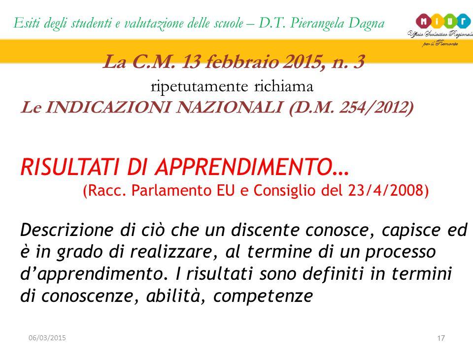 Ufficio Scolastico Regionale per il Piemonte Esiti degli studenti e valutazione delle scuole – D.T. Pierangela Dagna 17 06/03/2015 La C.M. 13 febbraio