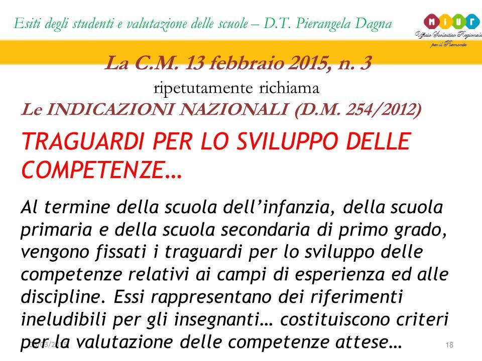 Ufficio Scolastico Regionale per il Piemonte Esiti degli studenti e valutazione delle scuole – D.T. Pierangela Dagna 18 06/03/2015 La C.M. 13 febbraio