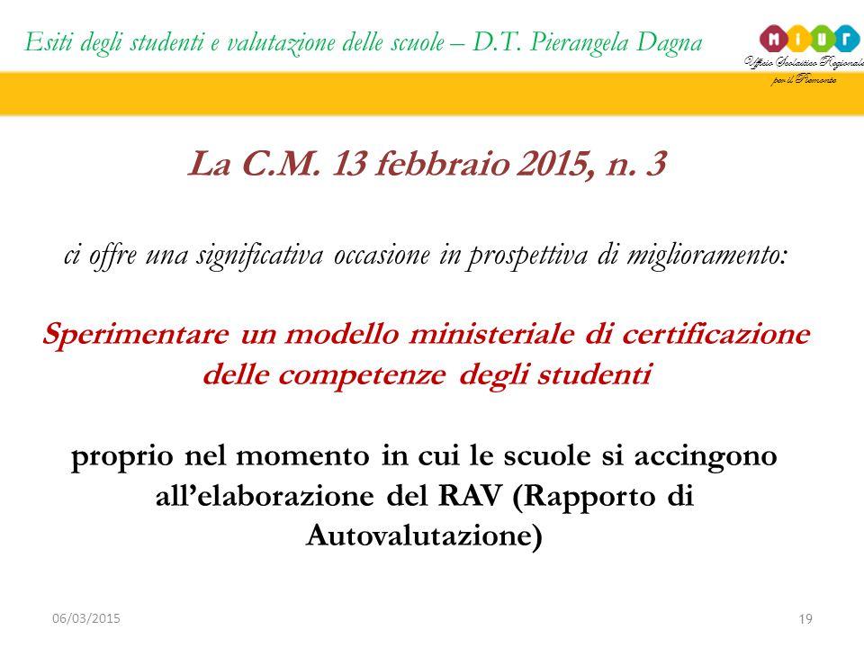 Ufficio Scolastico Regionale per il Piemonte Esiti degli studenti e valutazione delle scuole – D.T. Pierangela Dagna 19 06/03/2015 La C.M. 13 febbraio