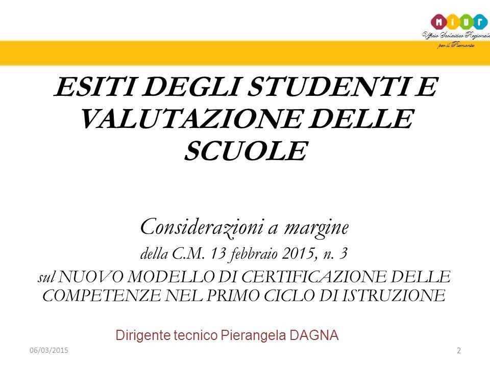 Ufficio Scolastico Regionale per il Piemonte Dirigente tecnico Pierangela DAGNA 2 06/03/2015 ESITI DEGLI STUDENTI E VALUTAZIONE DELLE SCUOLE Considera