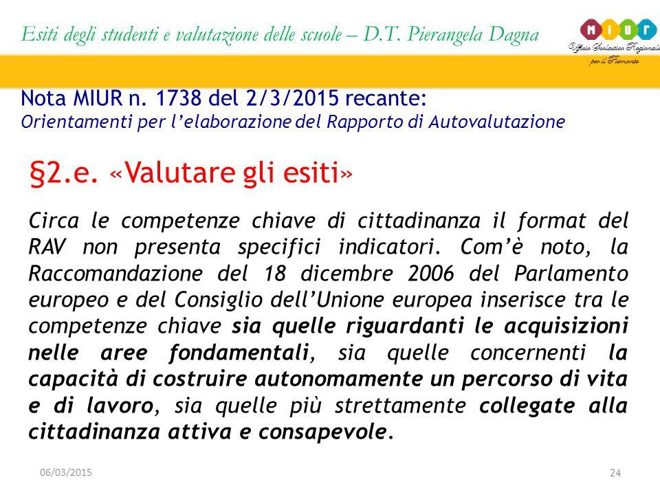 Ufficio Scolastico Regionale per il Piemonte Esiti degli studenti e valutazione delle scuole – D.T. Pierangela Dagna 24 06/03/2015 Nota MIUR n. 1738 d