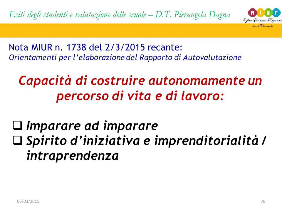 Ufficio Scolastico Regionale per il Piemonte Esiti degli studenti e valutazione delle scuole – D.T. Pierangela Dagna 26 06/03/2015 Nota MIUR n. 1738 d