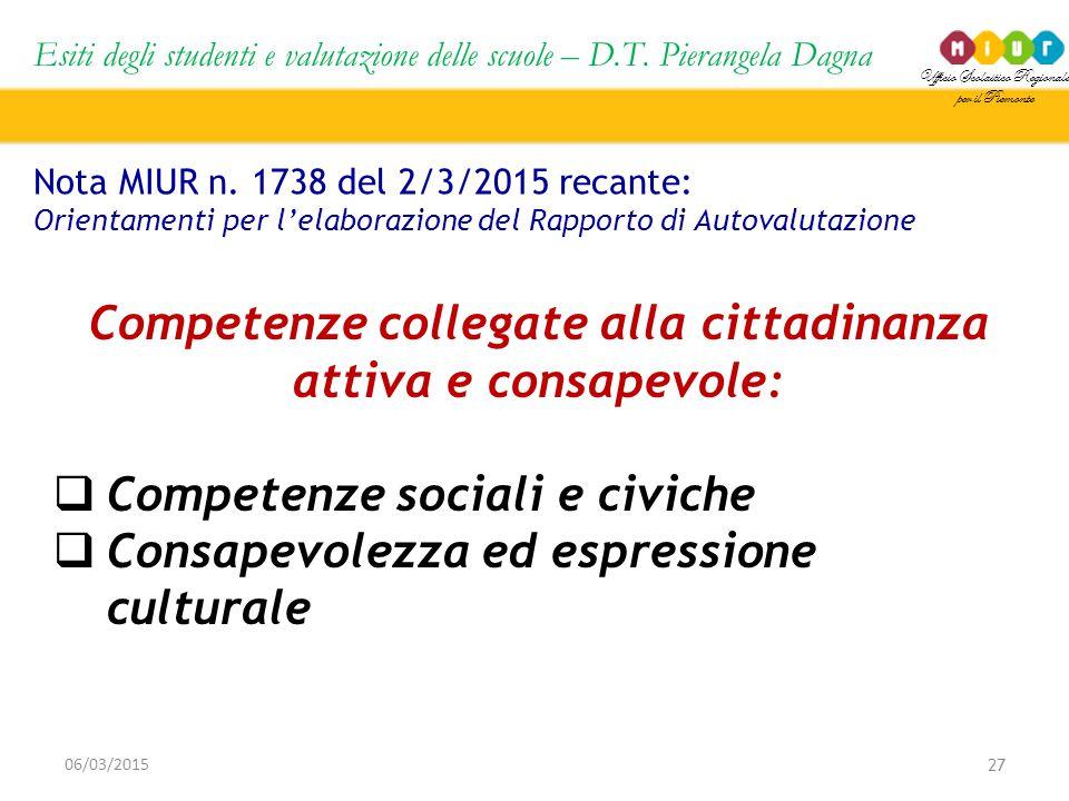 Ufficio Scolastico Regionale per il Piemonte Esiti degli studenti e valutazione delle scuole – D.T. Pierangela Dagna 27 06/03/2015 Nota MIUR n. 1738 d