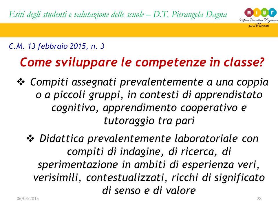Ufficio Scolastico Regionale per il Piemonte Esiti degli studenti e valutazione delle scuole – D.T. Pierangela Dagna 28 06/03/2015 C.M. 13 febbraio 20