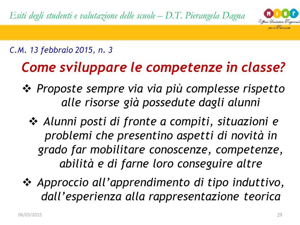 Ufficio Scolastico Regionale per il Piemonte Esiti degli studenti e valutazione delle scuole – D.T. Pierangela Dagna 29 06/03/2015 C.M. 13 febbraio 20