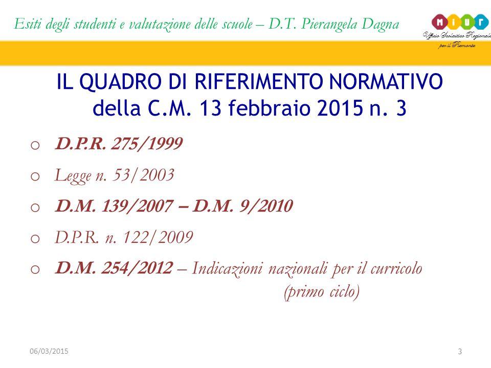 Ufficio Scolastico Regionale per il Piemonte Esiti degli studenti e valutazione delle scuole – D.T. Pierangela Dagna 3 06/03/2015 IL QUADRO DI RIFERIM