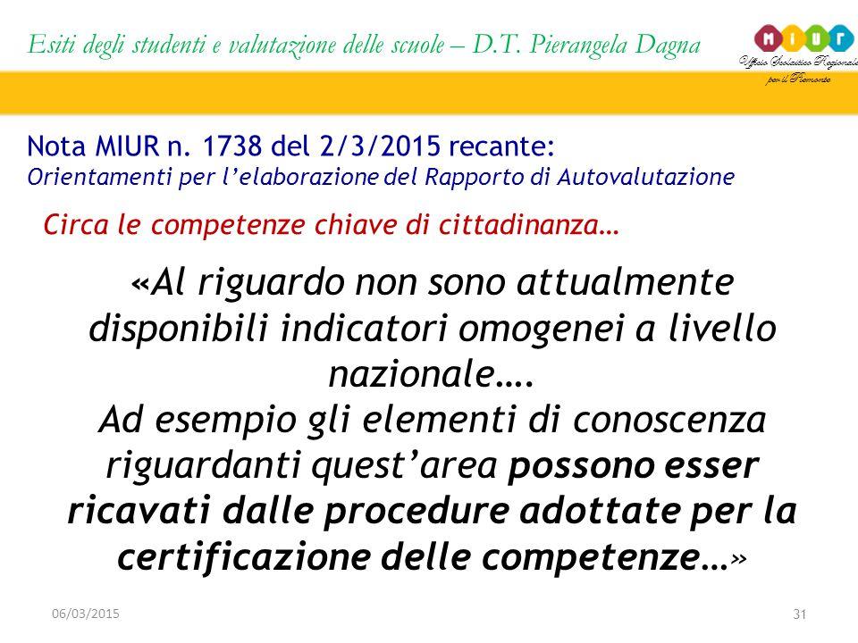 Ufficio Scolastico Regionale per il Piemonte Esiti degli studenti e valutazione delle scuole – D.T. Pierangela Dagna 31 06/03/2015 Nota MIUR n. 1738 d