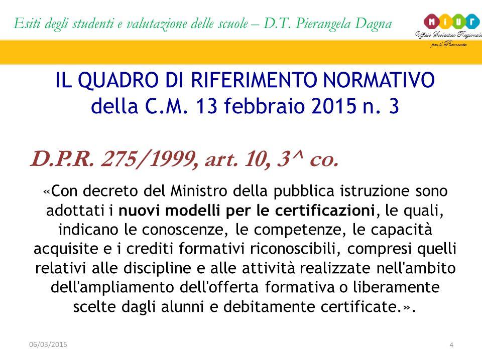 Ufficio Scolastico Regionale per il Piemonte Esiti degli studenti e valutazione delle scuole – D.T. Pierangela Dagna 4 06/03/2015 IL QUADRO DI RIFERIM