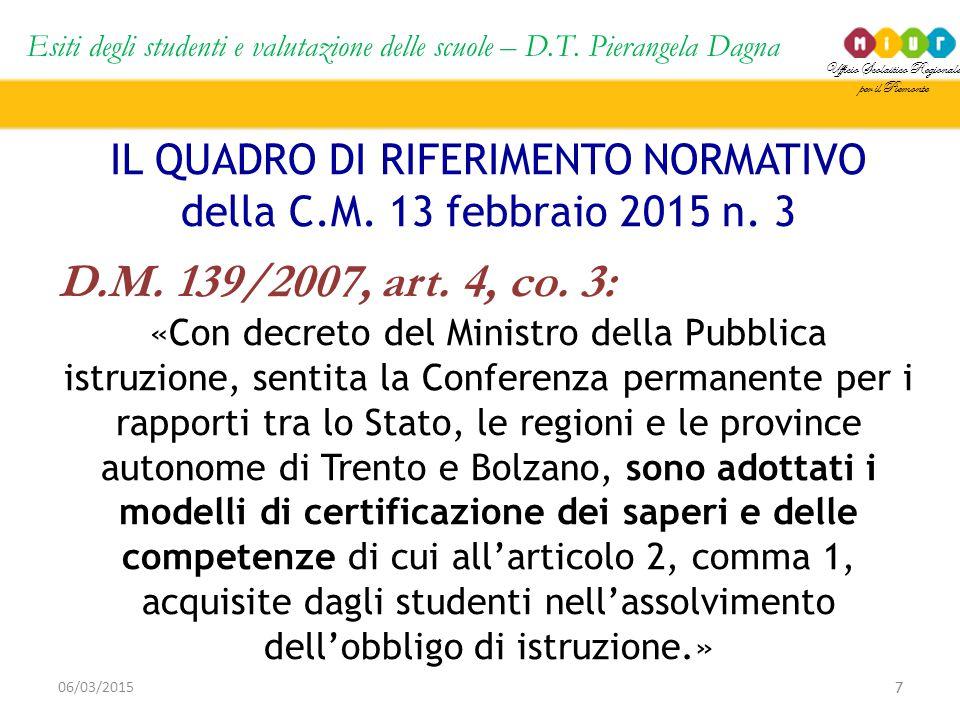 Ufficio Scolastico Regionale per il Piemonte Esiti degli studenti e valutazione delle scuole – D.T. Pierangela Dagna 7 06/03/2015 IL QUADRO DI RIFERIM