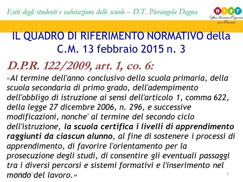 Ufficio Scolastico Regionale per il Piemonte Esiti degli studenti e valutazione delle scuole – D.T. Pierangela Dagna 9 06/03/2015 IL QUADRO DI RIFERIM