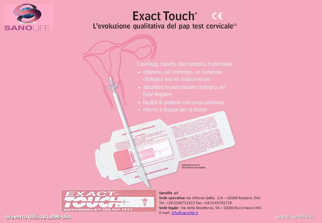 www.exact-touch.it brevetto US5, 191,899-USA SANOLIFE Sanolife srl Sede operativa:Via Alfonso Gatto, 2/A – 20089 Rozzano (MI) Tel: +39 0290751922 Fax: